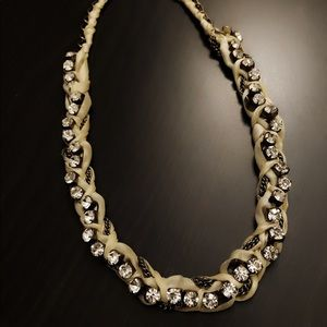 J.CREW tan ribbon wrapped chunky crystal necklace